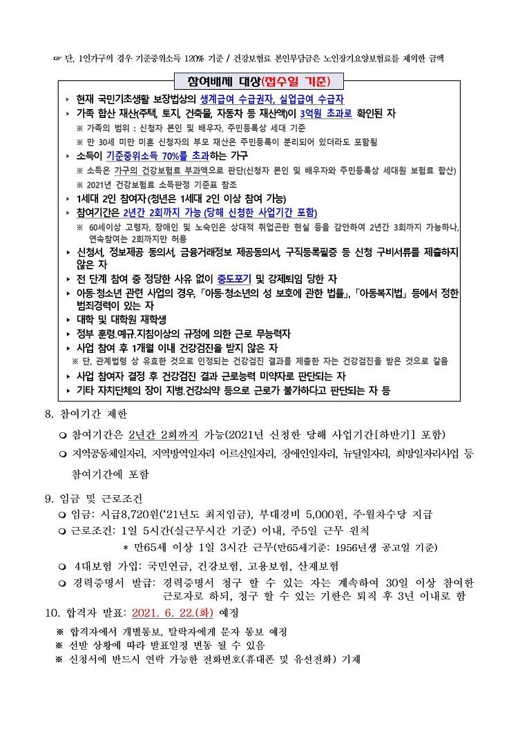 2021년 하반기 서울시민 안심일자리 참여자 모집 공고